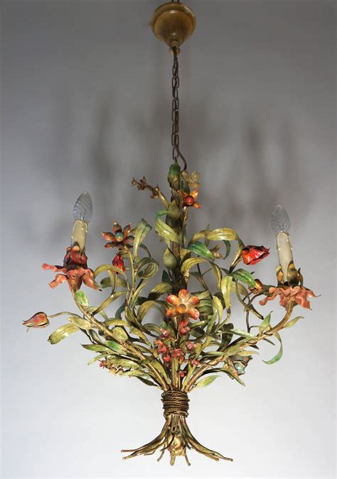 Chandelier With Flowers Tole Chandelier With Flowers At 1stdibs