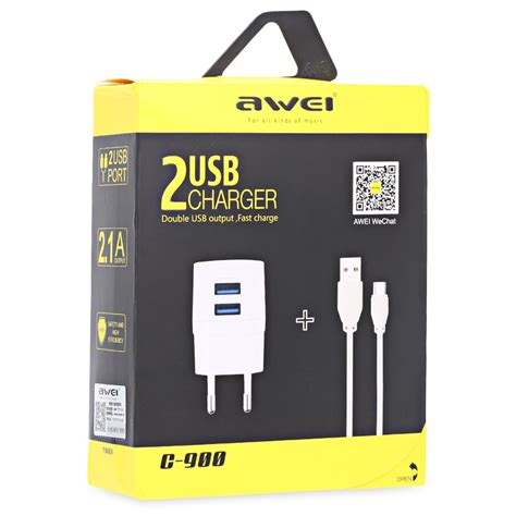 Travel Charger Usb 2port 2 1a 1a awei usb travel charger 2 port 2 1a eu c 900