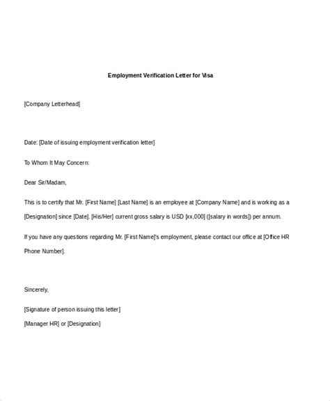 Letter Format For Visa Purpose Sle Employee Verification Letter 8 Free Documents In Pdf Doc