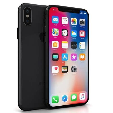 apple iphone x space gray 3d model cgtrader