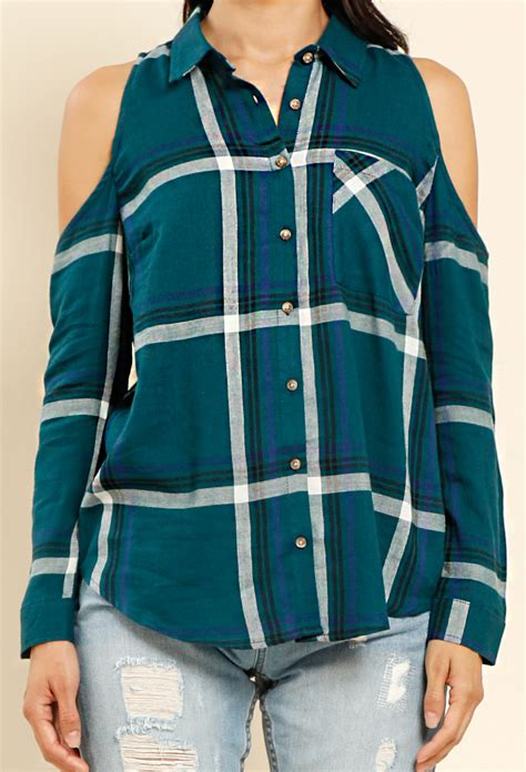Flannel Plaid The Shoulder Top plaid flannel open shoulder shirt shop tops at papaya