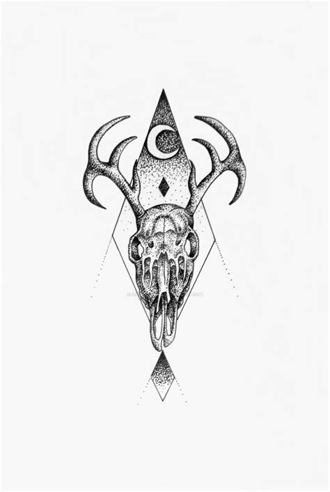 stag skull geometric stipple dot art by ilikeyourdad