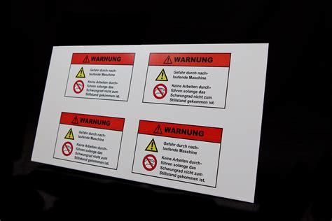 Gefahren Aufkleber by Anwendungen Gefahrenschilder Drucken Industrielle