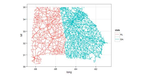 ggplot theme map r shape file prisecroads abutting two states stack