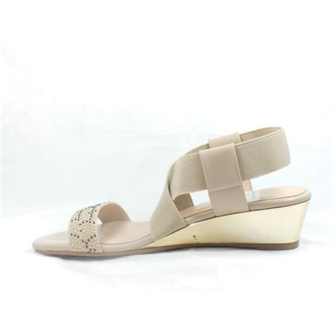 beige wedge sandal lotus briee beige shiny and elastic open toe wedge sandal