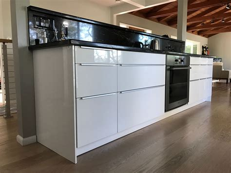 Ikea Handles Cabinets Kitchen Finished And Completed Ikea Kitchen Sektion Cabinets Ringhult White High Gloss Fronts With