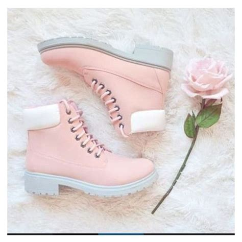 Sp Boot Flower White shoes pink boot boots white pastel teenagers floral liked on polyvore