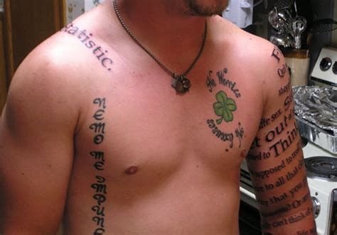 tattoo quotes for guys on chest 27 unbelievable shamrock tattoo creativefan