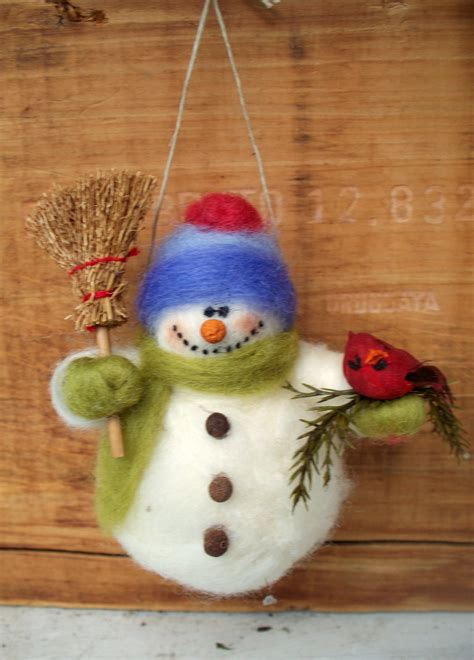 barry the snowman wool wrapped needle felted ornament