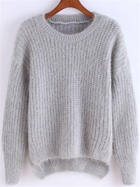 Sweater Grey Cat dip hem fuzzy grey sweaterfor romwe