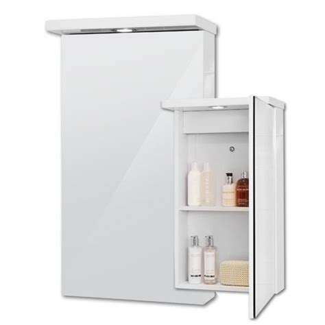 bathroom mirror cabinet spot light 2 shelves storage 400