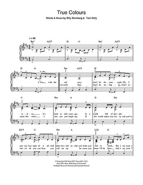 glee cast true colors true colours partition par glee cast piano facile 102327