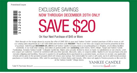new yankee candle printable coupons yankee candle 20 off 45 purchase shopportunist