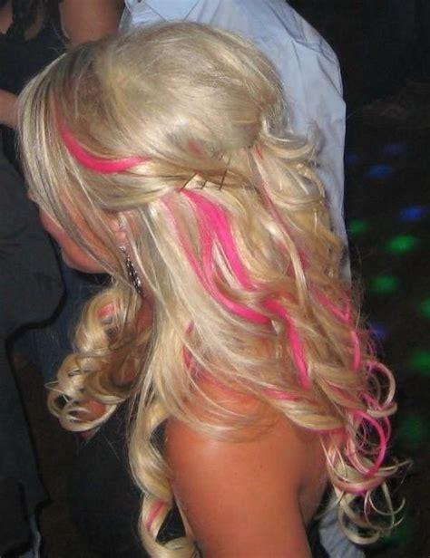 pink hair streaks soft long layered blonde hair with barbie pink streaks
