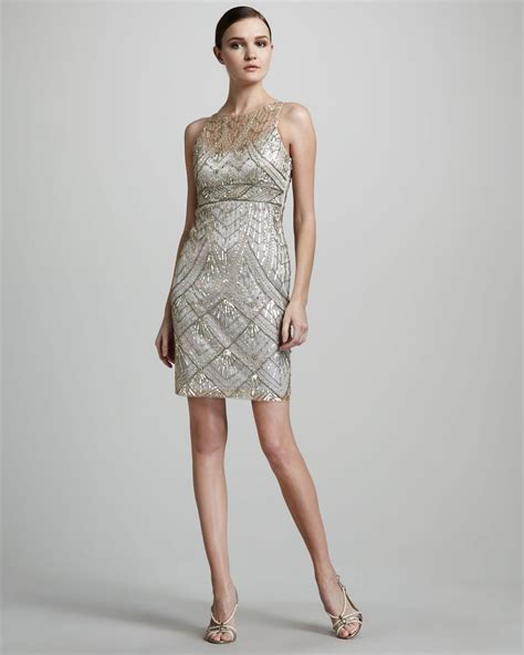 beaded silver dress lyst sue wong beaded cocktail dress in metallic
