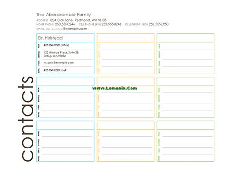 family contact list template family related office templates for ms office software