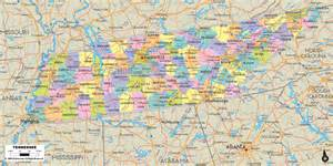 detailed political map of tennessee ezilon maps