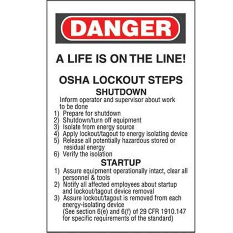 lockout tagout steps calendar wallet card