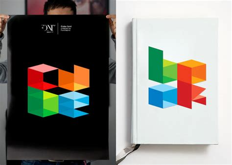 3 dimensional typography cube font idsgn a design