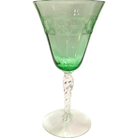 elegant barware fostoria elegant glass depression era spartan etch green twisted stem water goblet