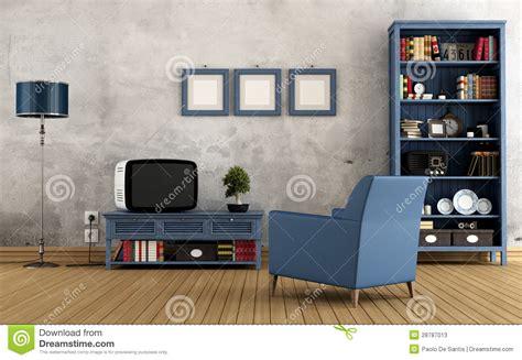 Blue And Yellow Bedroom Ideas sala de estar azul del vintage fotos de archivo imagen