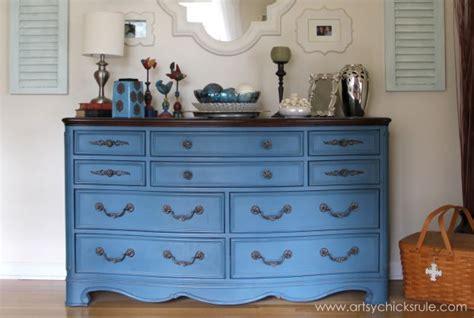 diy blue chalk paint aubusson blue dresser re do artsy rule 174