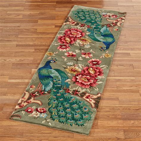 rug runner peacock flora wool rug runner