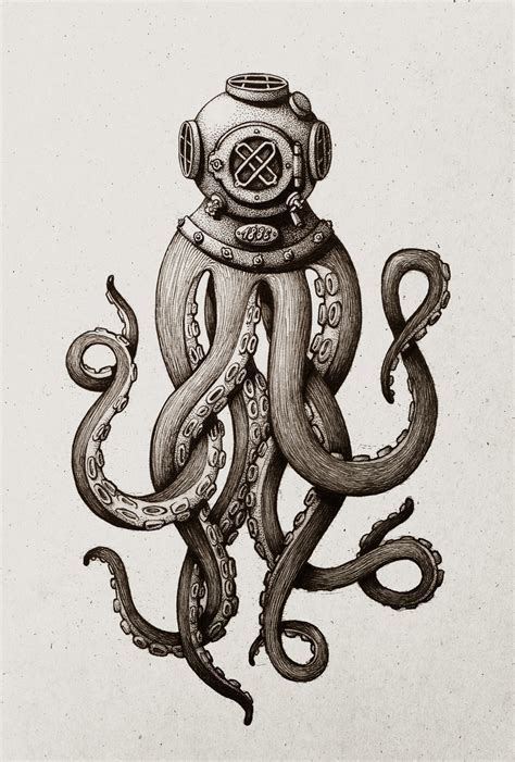 tattoo too deep diving helmet tentacles 900x1332 wallpapers