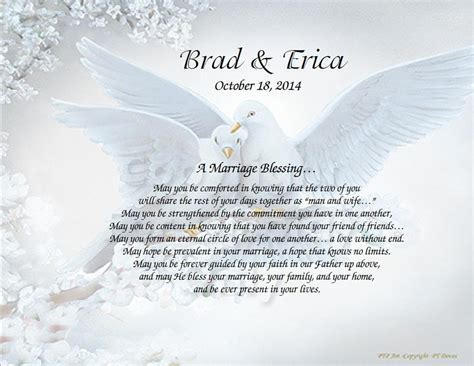 Wedding Blessing Poems Prayers by Personalized Wedding Poem Inspirational Print On Choice
