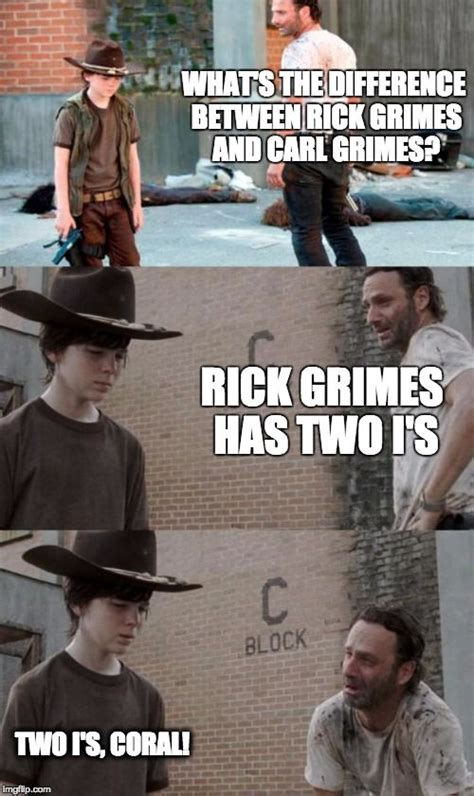 Walking Dead Meme Rick Crying - rick and carl 3 meme what s the difference between rick grimes and carl grimes rick grimes