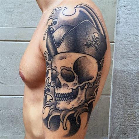 pirate sleeve tattoo designs terrific pirate skull on arm