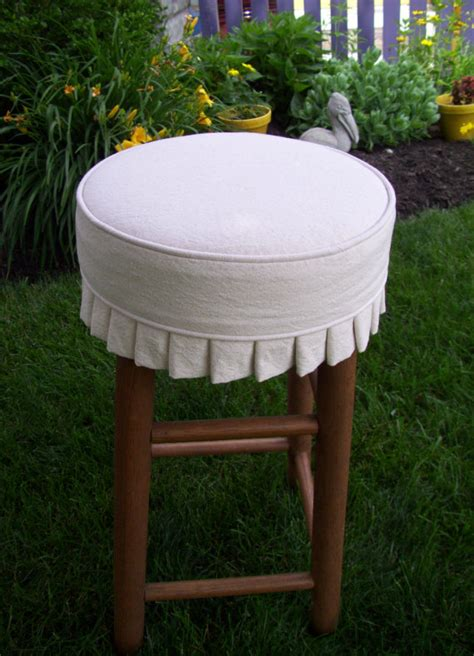 round bar stool slipcovers round bar stool slipcover with cushion and knife pleats canvas