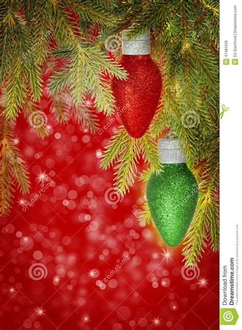 christmas lights that look like snow falling and green ornaments stock photo image 47481636