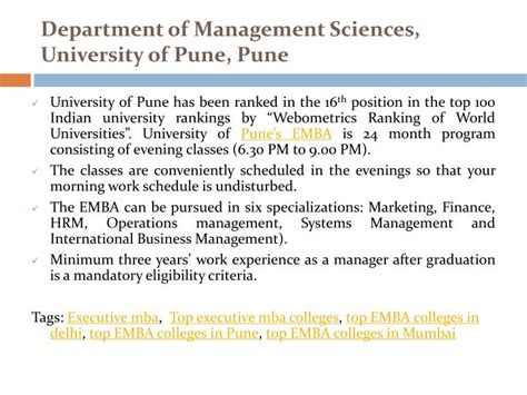 Executive Mba Criteria In India by Ppt Top Executive Mba Colleges In India Powerpoint
