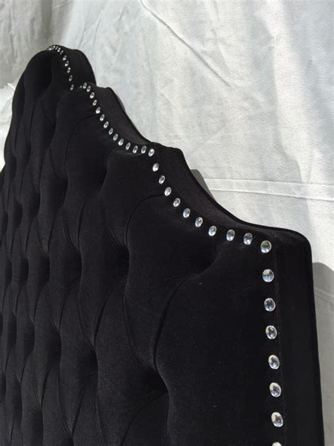 black velvet tufted headboard items similar to black headboard queen headboard black