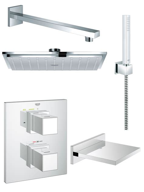 Grohe Grohtherm Cube Bath And Shower Shower Solution Pack 5 Bathroom Shower Set