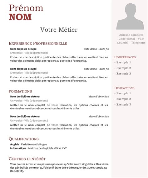 Cv Lettre by Modele Cv Avec Photo Andallthingsdelicious