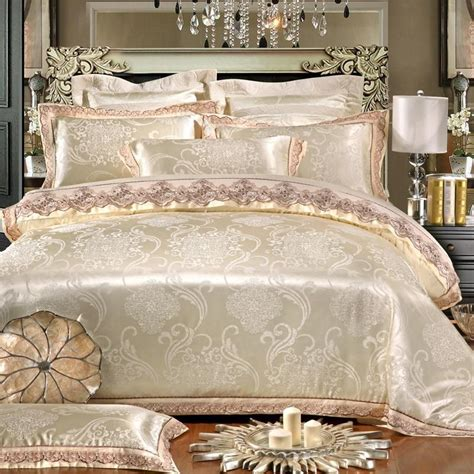 white and gold bed set white gold jacquard silk cotton luxury bedding set king