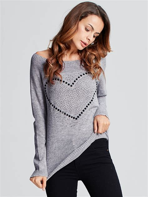 heart pattern sweater casual women heart pattern back bowknot long sleeve