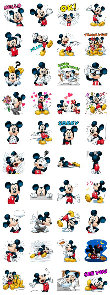 Sticker Stiker Label Pengiriman Disney Mickey Mouse Miki Tikus 米奇 笑口常開篇 line 貼圖 at jp