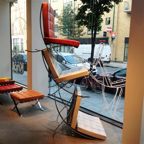 window chair barcelona chair knoll showroom window and furniture