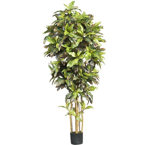 Nearly natural 6 ft croton silk tree 5211 the home depot