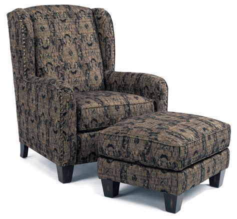 wingback armchair perth flexsteel accents perth wing chair and ottoman with