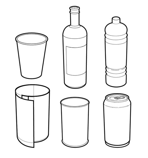 3d Container Home Design Software vector line drawings of cans bottles and cups