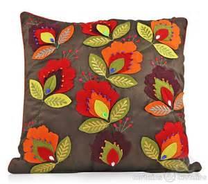Applique Cushion Chocolate Brown Floral Felt Applique Cushion Cushions Uk