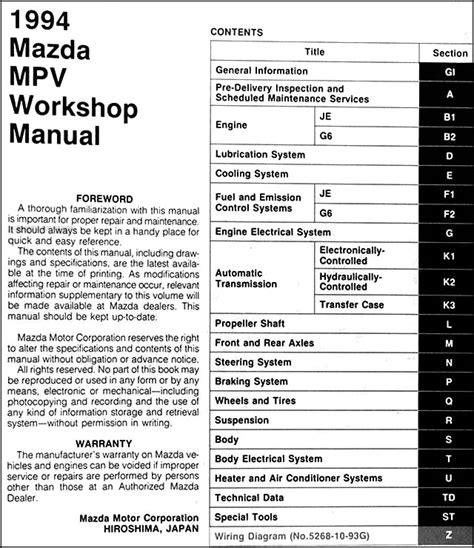 how to download repair manuals 2001 mazda mpv head up display 1994 mazda mpv repair shop manual original