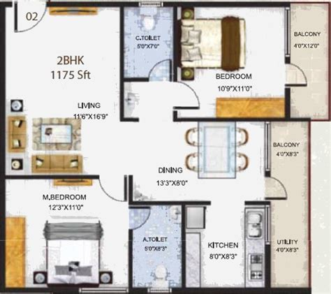 serenity floor plan 1175 sq ft 2 bhk 2t apartment for sale in baldota group