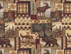 Western Print Upholstery Fabric Rustic Log Cabin Lodge Upholstery Fabric Rustic