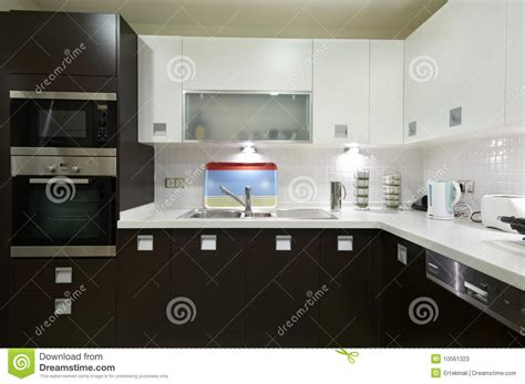 sleek modern kitchen stock  image