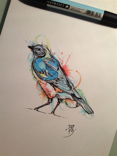 watercolor tattoo effect bird with watercolor effect done by davide capone tattoos